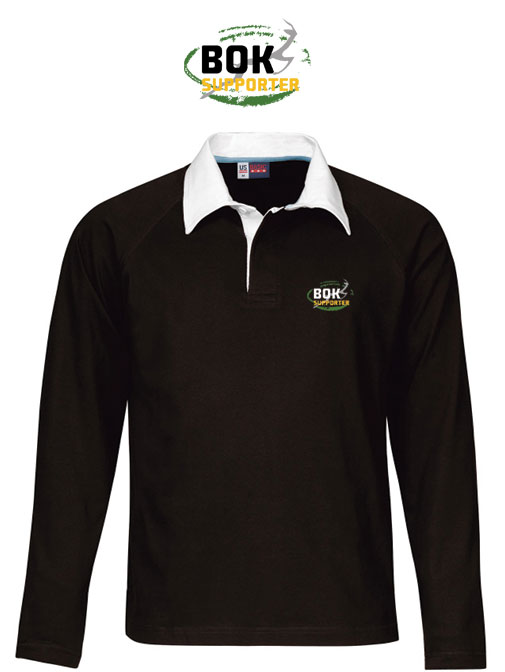 Long Sleeve Unisex Black Bok Supporter Rugby Shirt